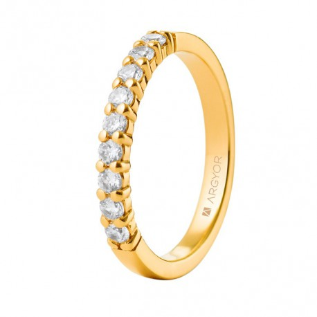 Eljegyzési gyűrű 18k 0,27ct sárga aranyból 11 gyémánttal 74A0058