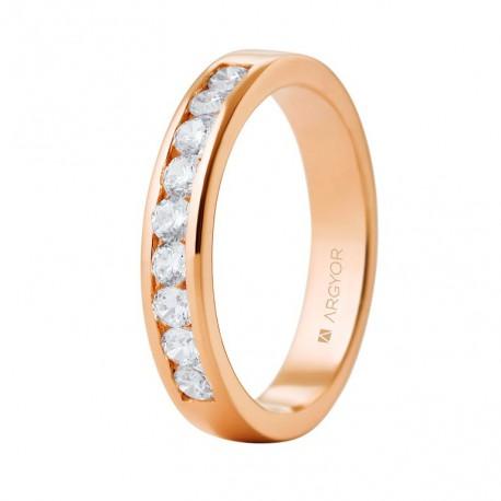 Eljegyzési gyűrű 18k rózsaszín aranyból 9 gyémánttal 0,54 karát 74R0051