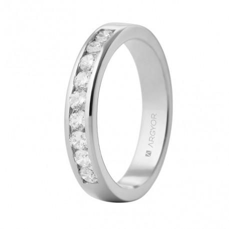 Eljegyzési gyűrű 18k fehéraranyból 9 gyémánttal 0,54 karát 74B0051