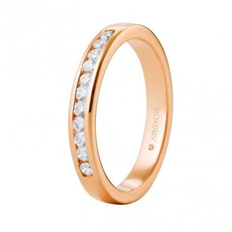 Eljegyzési gyűrű 18k rózsaszín aranyból 11 gyémánttal 0,27 karát 74R0050