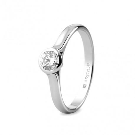 Eljegyzési gyűrű 18k fehéraranyból gyémánttal 0,34 karát 74B0043