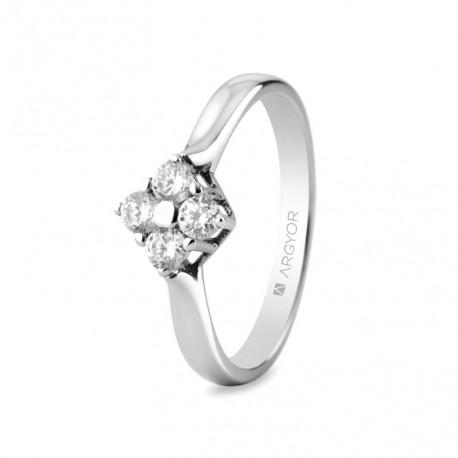 Eljegyzési gyűrű 18k fehéraranyból 4 gyémánttal 0,30 karát 74B0042