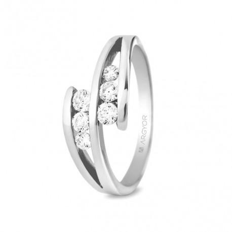 Eljegyzési gyűrű 18k fehéraranyból 6 gyémánttal 0,352 karát 74B0036