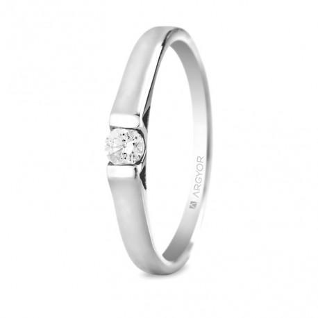 Eljegyzési gyűrű 18k fehéraranyból gyémánttal 0,10 karát 74B0032