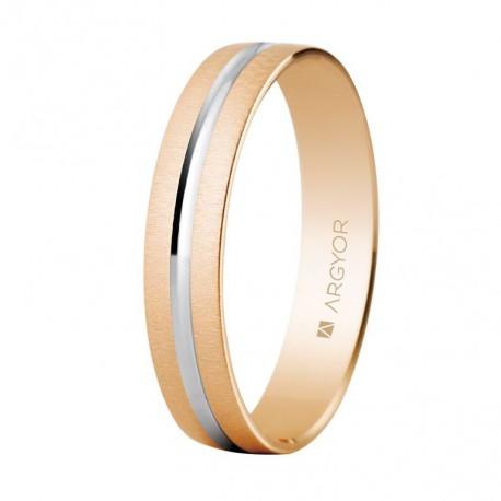 Karikagyűrű 18k kétszínű rózsaszín aranyból 4mm 5C41474R