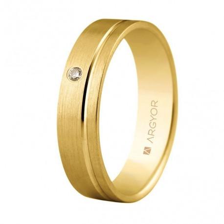 Karikagyűrű 18k aranyból gyémánttal 5mm komfort 5150316D