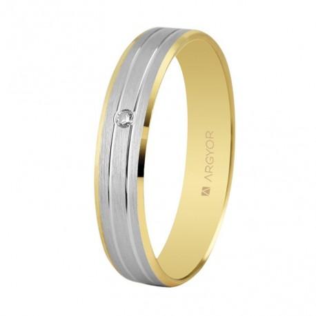 Karikagyűrű 18k kétszínű aranyból gyémánttal 4mm 5240436D