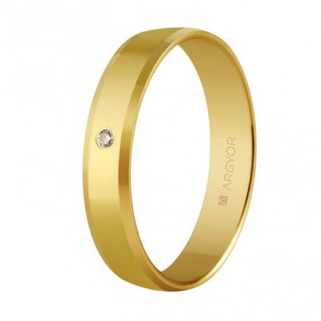 Karikagyűrű 18k aranyból gyémánttal 4mm 5140047D
