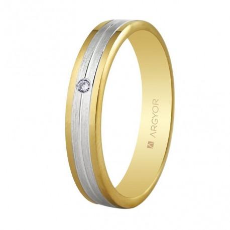 Karikagyűrű 18k kétszínű aranyból gyémánttal 5240406D