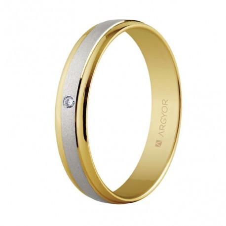 Karikagyűrű 18k kétszínű aranyból gyémánttal 4mm 5240044D