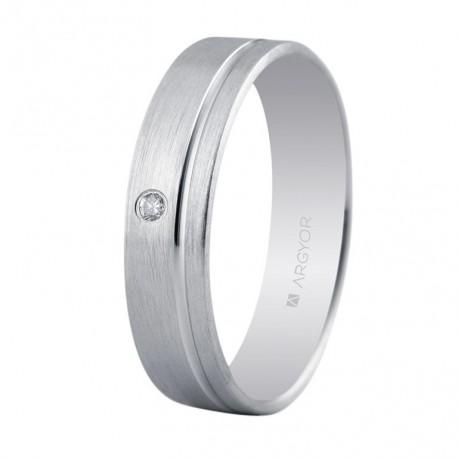 Karikagyűrű 18k fehéraranyból gyémántokkal 5mm 555B1316
