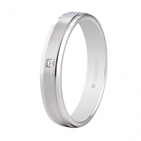 Karikagyűrű 18k fehéraranyból gyémántokkal 4mm 554B1397
