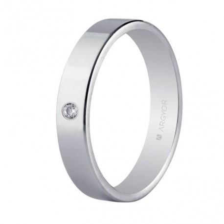 Karikagyűrű 18k fehéraranyból gyémántokkal 4 mm 554B1002