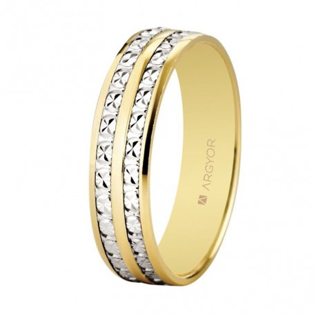 Karikagyűrű 18k kétszínű aranyból gyémántokkal 5mm 5250464